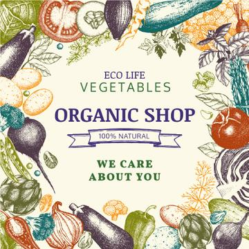 Organic Shop ad with vegetables