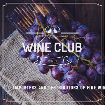Wine club Invitation with fresh grapes