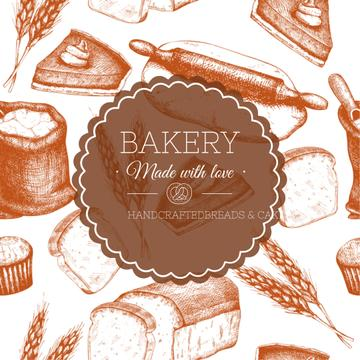 Illustration with Bakery and Cakes