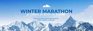 Winter Marathon Announcement with Snowy Mountains