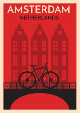Amsterdam red card with bicycle