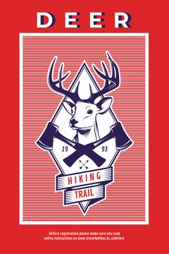 Hiking Trail Ad Deer Icon in Red