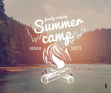 Summer camp invitation with forest view