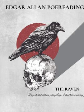 Poems reading invitation with Raven Sitting on Skull