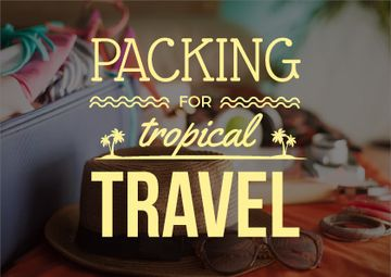 travel background with case and summer accessories