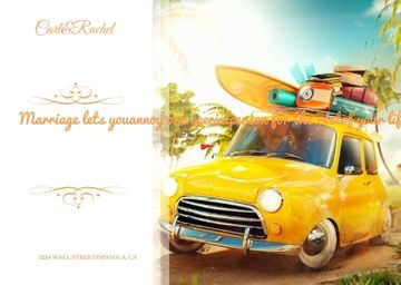 Wedding Invitation Quote with Car and Suitcases