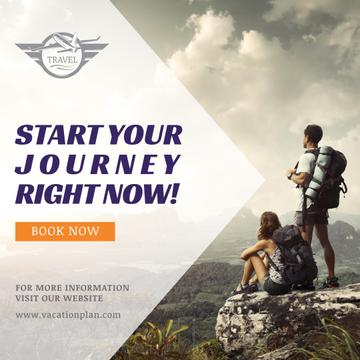 Traveling tour advertisement with Travellers