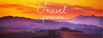 Motivational travel quote with Majestic sunset