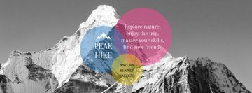 Hike Trip Announcement with Scenic Mountains Peaks