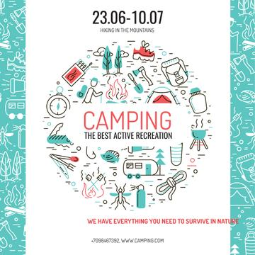 Camping trip offer with Travelling icons