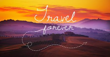 Motivational travel quote with nature wiew