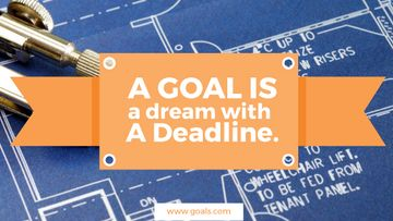 Goal motivational quote on blueprint