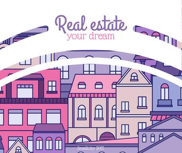 Real Estate Ad with Town in pink