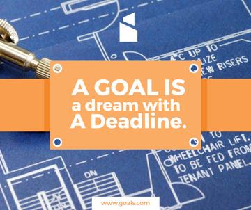 Goal motivational quote on blueprint