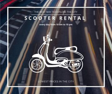 Scooter rental advertisement on road view