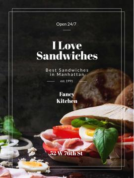 Restaurant Ad with Fresh Tasty Sandwiches