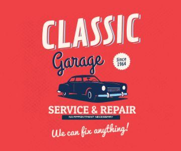 Garage Services Ad Vintage Car in Red