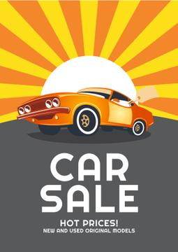 Car Sale Advertisement with Car in orange