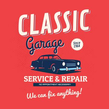 Garage services with Vintage car illustration