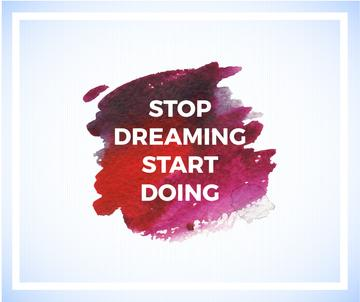 Motivational Quote on Watercolor Blot in Red
