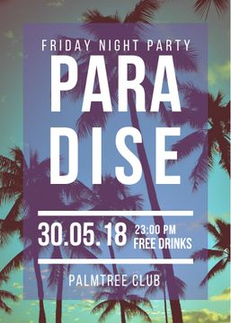 Night Party invitation on Tropical Palm Trees