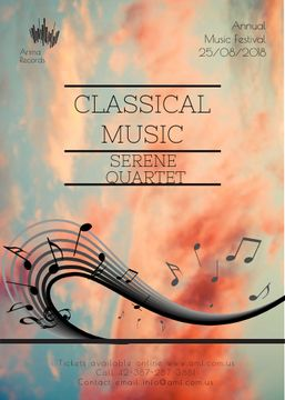 Classical Music Performance invitation notes on sky