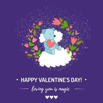 Valentine's day Greeting with Cute Bear