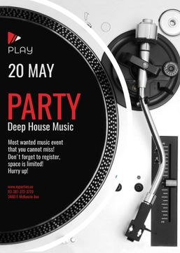 Party Invitation with Vinyl Record Playing