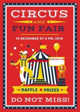 Circus and funfair invitation with Tent