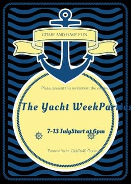 Yacht Party advertisement with blue stripes