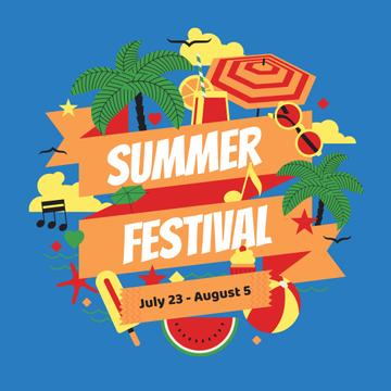 Summer Festival Announcement with Beach Attributes