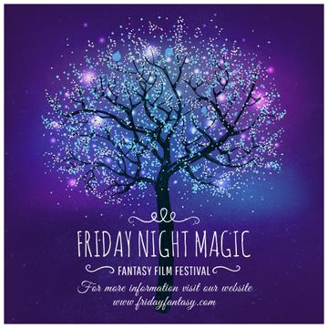 Fantasy Film Festival invitation with magical tree