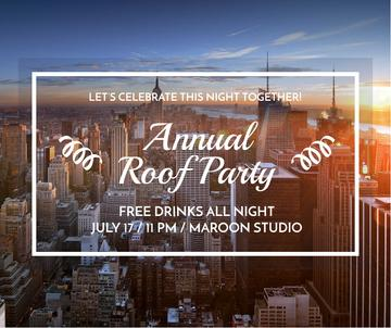 Roof party invitation on city view