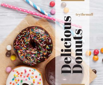 Advertisement of delicious donuts