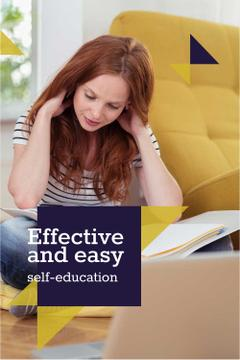 Self education concept with Woman reading book