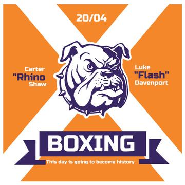 Boxing Match Announcement Bulldog on Orange