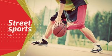 Street sports with basketball player