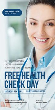 free health check day poster with smiling female doctor