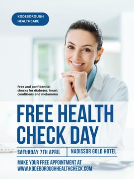 Free health check offer with smiling Doctor