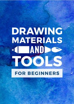 Drawing Materials Watercolor Background in Blue