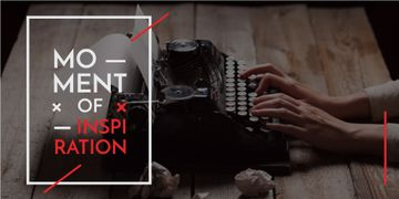 Inspiration Concept with Woman Working on Typing Machine