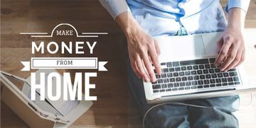 Make money from home with man typing on laptop