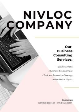 Business Services Ad with Worker Typing on Laptop