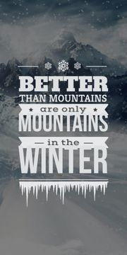 winter mountains poster with inspirational quote