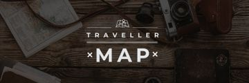Traveller map  poster with vintage photo camera