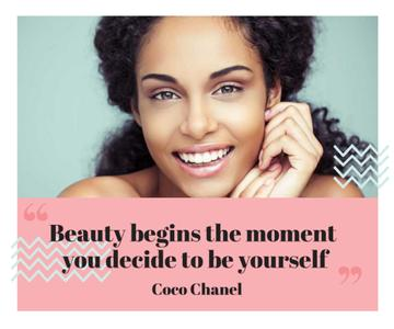 Beautiful young woman with inspirational quote from Coco Chanel