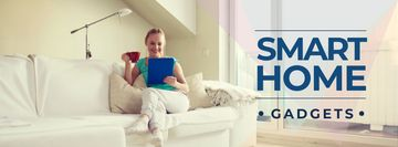 Smart home gadgets with Woman on sofa