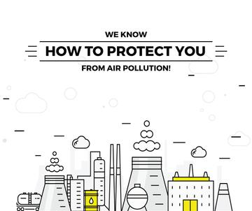Air pollution concept with working Factory