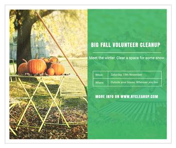 Volunteer Cleanup with Pumpkins in Autumn Garden