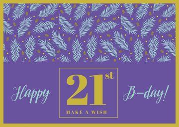 Happy Birthday Greeting Leaves in Purple